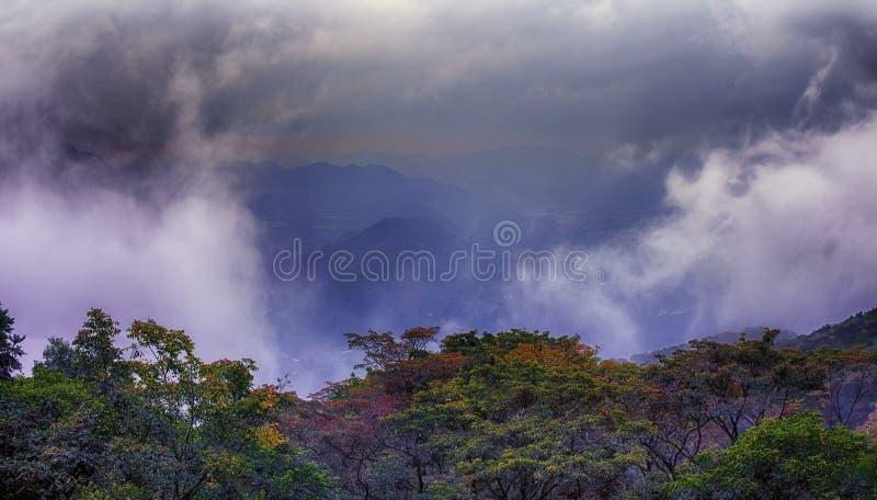 Wolken in de bergen na regen royalty-vrije stock foto