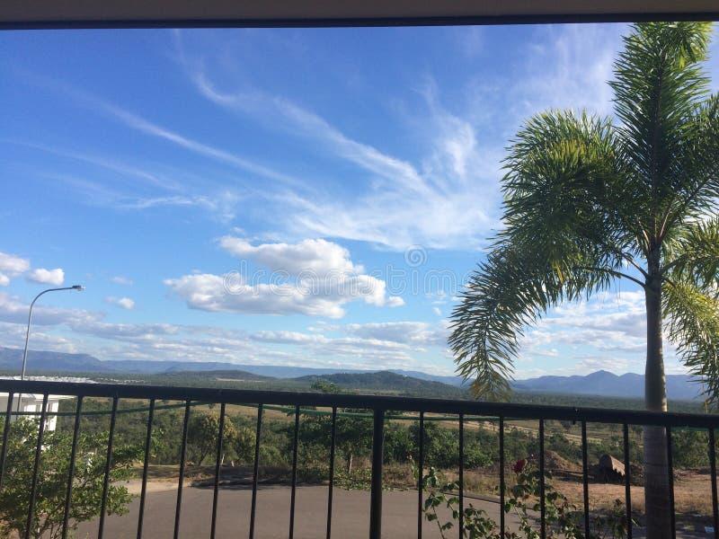 Wolken des blauen Himmels der Palme lizenzfreies stockfoto