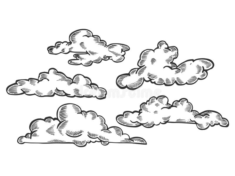 Wolken die vectorillustratie graveren royalty-vrije illustratie