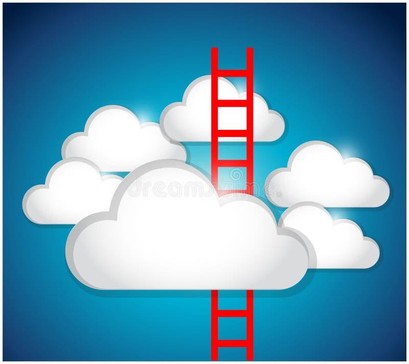 Wolken en het ontwerp van de ladderillustratie royalty-vrije illustratie