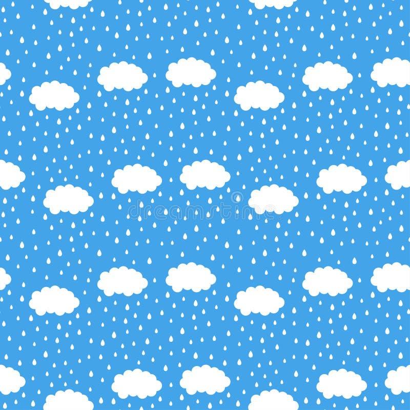 Wolken en regendruppels stock illustratie