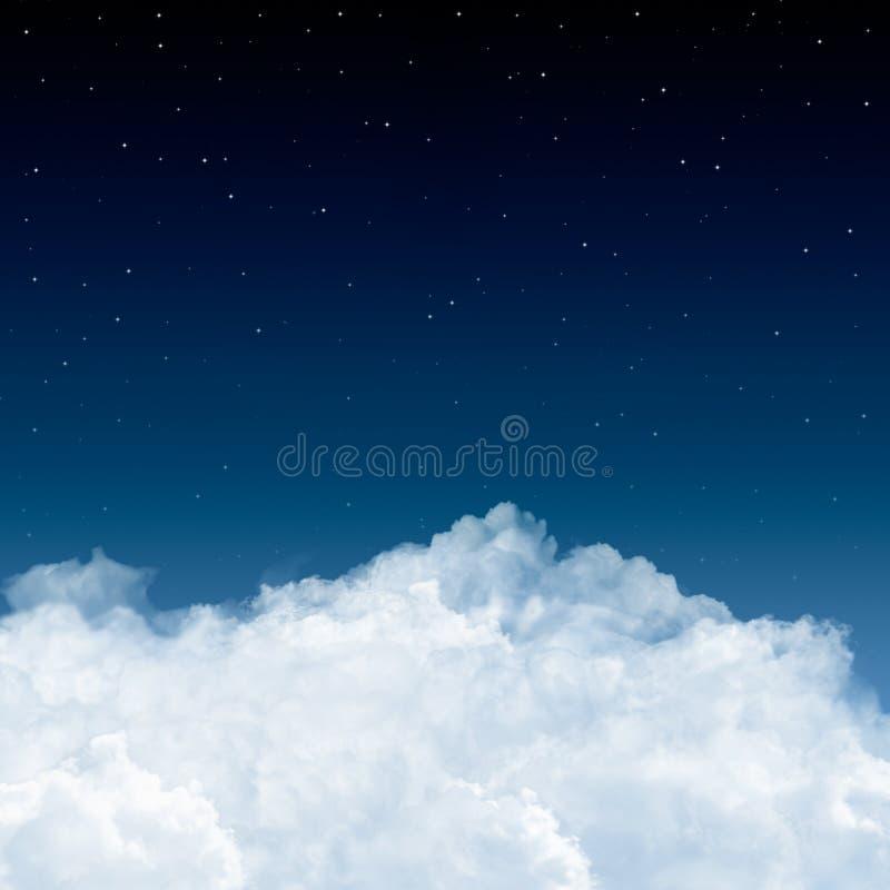 Wolken en sterren in blauw stock afbeelding