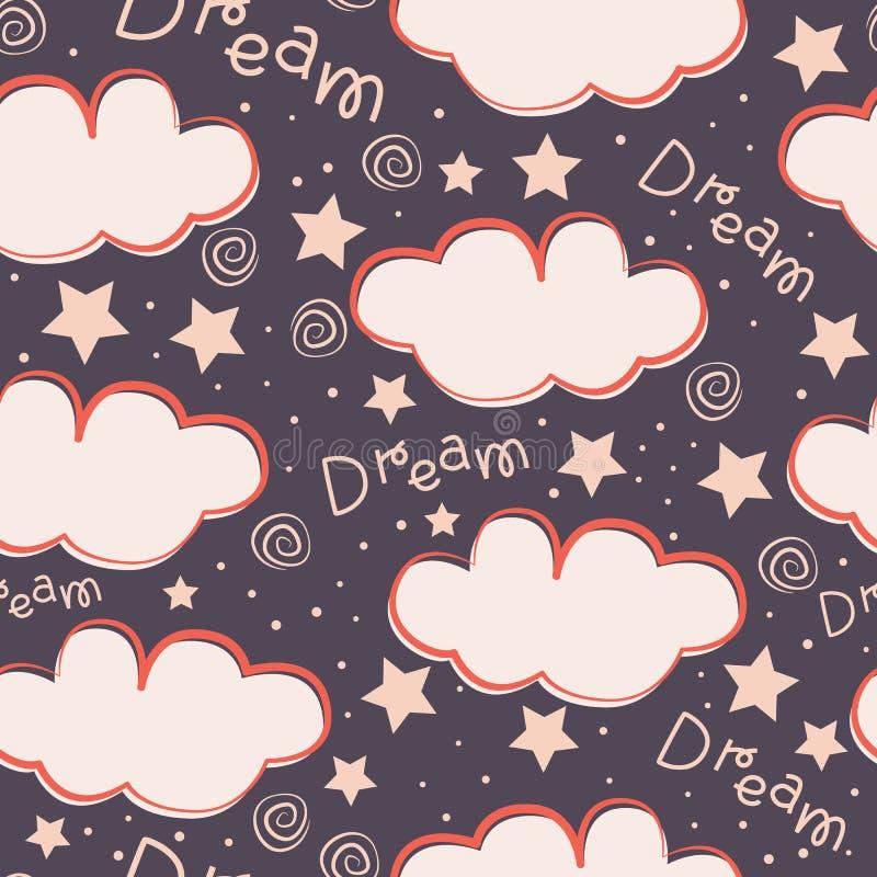 Wolken en sterrenontwerp van het jonge geitjes het naadloze patroon royalty-vrije illustratie
