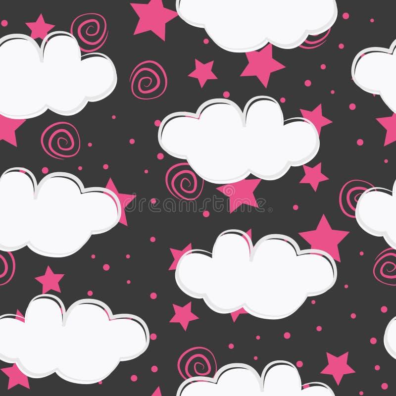 Wolken en sterrenontwerp van het jonge geitjes het naadloze patroon vector illustratie