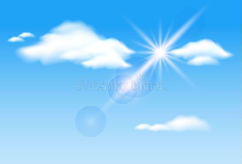 Wolken en zonneschijn vector illustratie