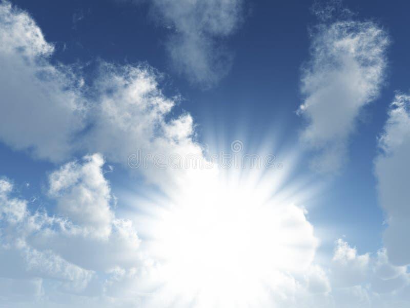 Wolken en zonnestralen royalty-vrije stock afbeeldingen
