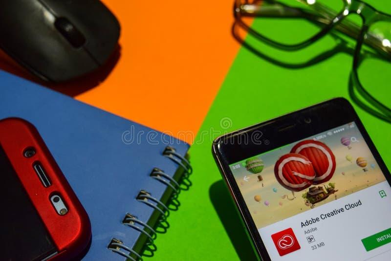 Wolken-Entwickler-APP Adobes kreative auf Smartphone-Schirm stockfoto
