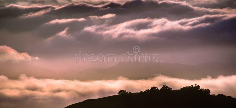 Wolken gebadet in der Sonnenunterganglichtbedeckung Rolling Hills, Süd-San Francisco Bay Bereich, Kalifornien stockbild