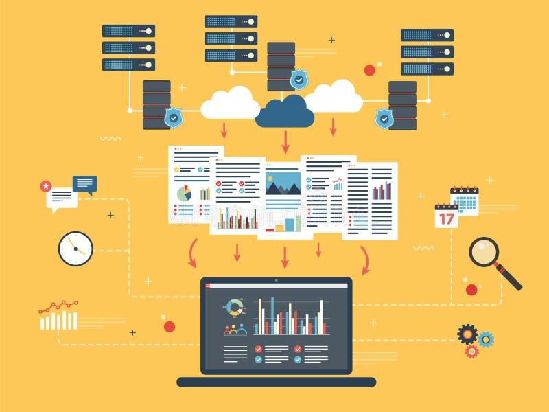 Wolken Gegevens verwerkend, grote gegevensanalyse en voor het exploiteren van gegevens royalty-vrije illustratie