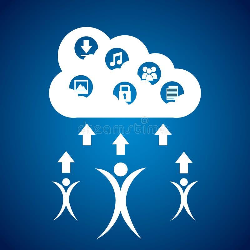 Wolken gegevensverwerking vector illustratie