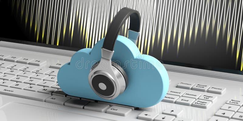 Wolken gegevensverwerking en muziek Blauwe wolken en hoofdtelefoons op computerachtergrond 3D Illustratie stock illustratie