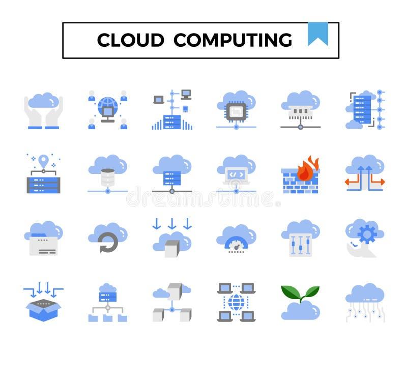 Wolken gegevensverwerking en verbinding de vlakke reeks van het ontwerppictogram stock illustratie