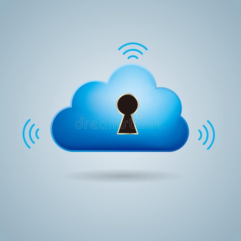 Wolken gegevensverwerking en voorzien van een netwerk ontwerpconcept royalty-vrije illustratie