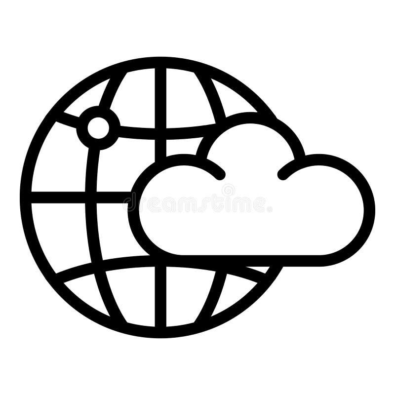 Wolken globaal ruimtepictogram, overzichtsstijl royalty-vrije illustratie