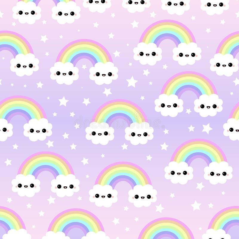 Wolken-Hintergrund, Regenbogen-nahtloses Muster, Karikatur-Vektor-Illustration, Grey Sky Background für Kind lizenzfreie abbildung