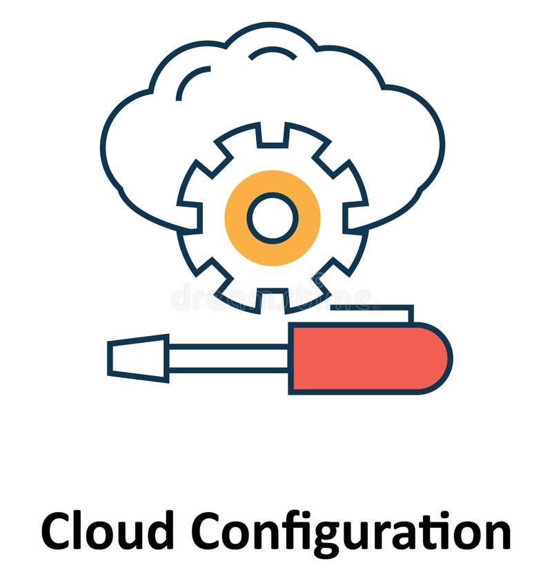 Wolken-Konfiguration lokalisiert und Vektor-Ikone für Technologie vektor abbildung