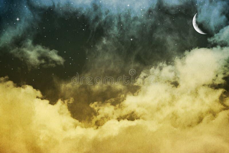 Wolken, Maan en Sterren royalty-vrije stock afbeelding
