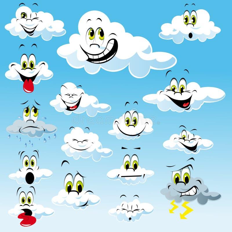 Wolken met de Gezichten van het Beeldverhaal stock illustratie