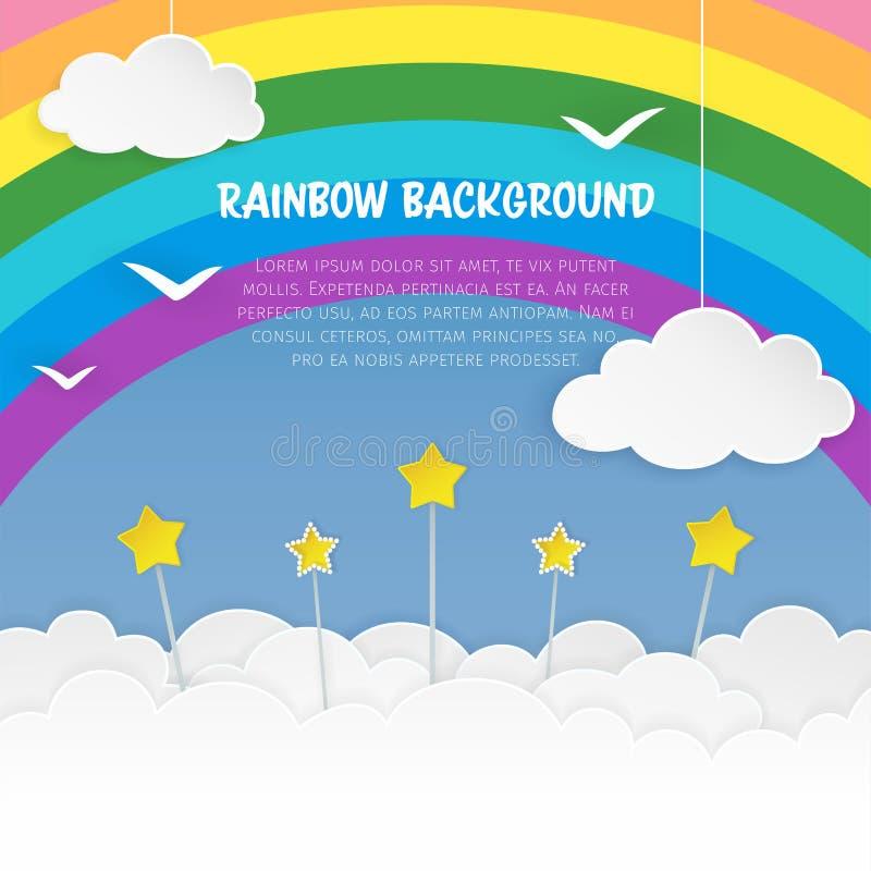 Wolken met sterren en vogelssilhouetten op de regenboogachtergrond Bewolkte hemelachtergrond Kleurrijke cloudscapeachtergrond vector illustratie