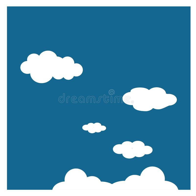 Wolken - in meteorologie, is een wolk een aërosol die uit een zichtbare massa van minieme vloeibare druppeltjes bestaan royalty-vrije illustratie