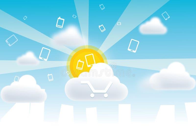 Wolken Mobiele Betalingen royalty-vrije illustratie