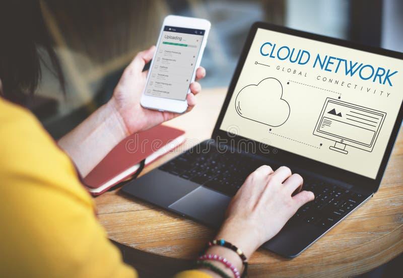 Wolken-Netz-globales Zusammenhang-Anteil-Konzept lizenzfreies stockbild