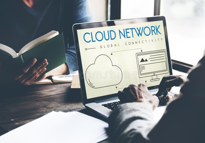 Wolken-Netz-globales Zusammenhang-Anteil-Konzept stockfoto