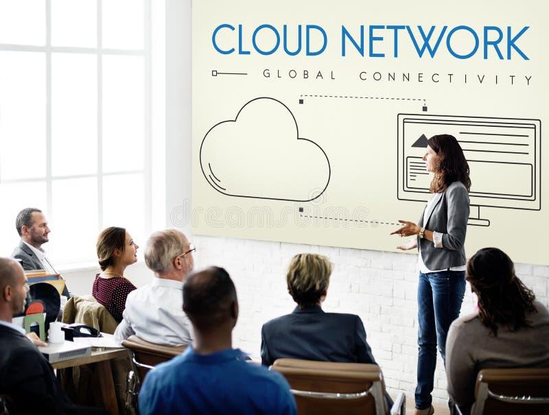 Wolken-Netz-globales Zusammenhang-Anteil-Konzept lizenzfreie stockbilder