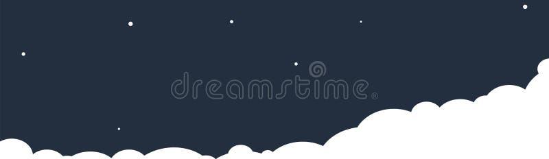 Wolken op een achtergrond van de nachthemel Vector illustratie vector illustratie