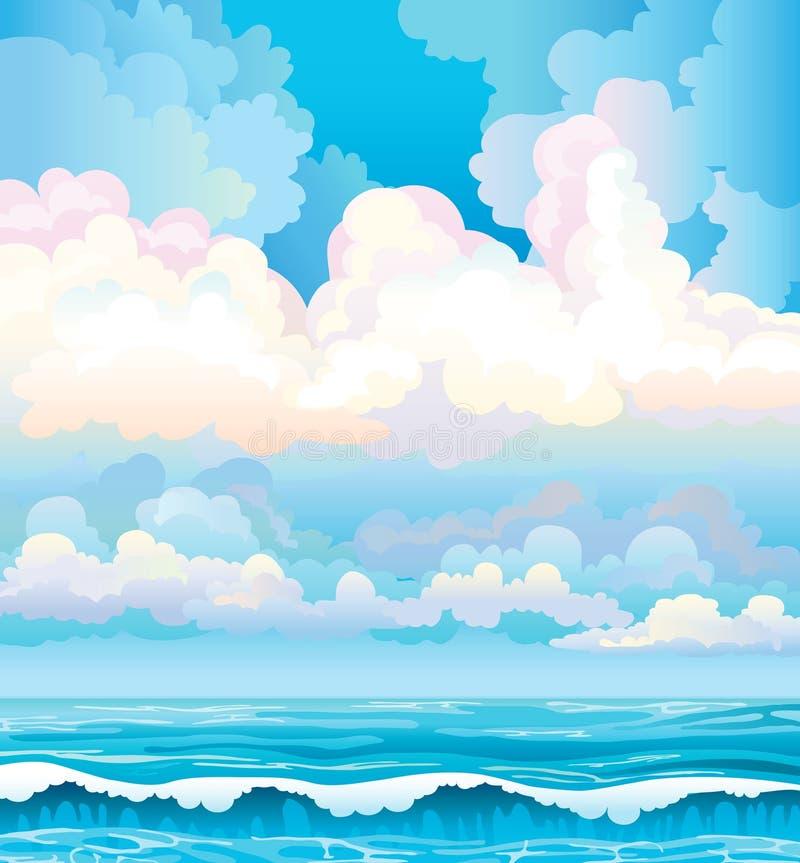 Wolken op een blauwe hemel en een overzees met golven vector illustratie