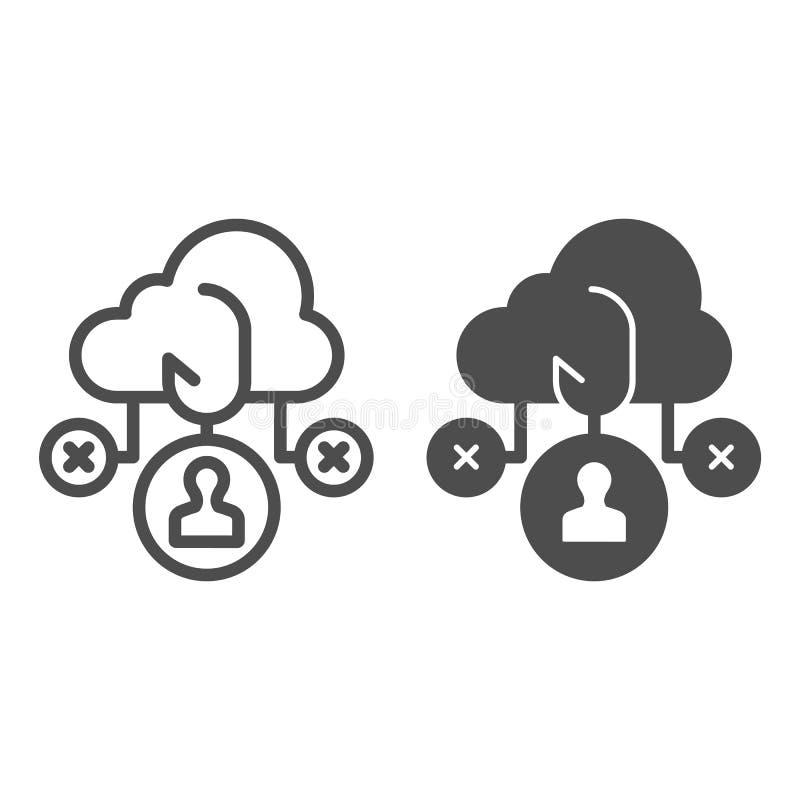 Wolken phishing lijn en glyph pictogram Gegevens die vector geïsoleerde illustratie phishing over wit Gegevens cyber het binnendr royalty-vrije illustratie