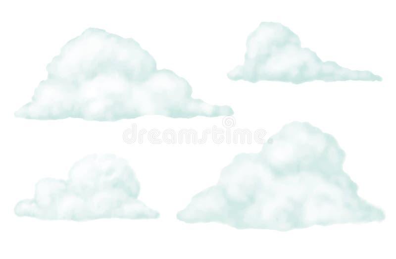 Wolken realistische reeks royalty-vrije illustratie