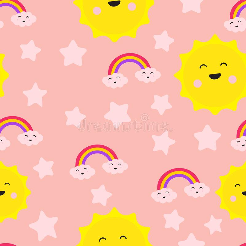 Wolken-Regenbogen-Stern und nettes nahtloses Wiederholungs-Muster Sun, Gelächter-Spaß-Sorgfalt-Freude, Liebe für zwei, Illustrati lizenzfreie abbildung