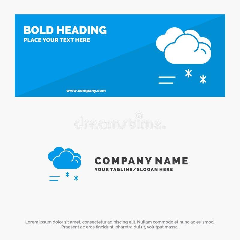 Wolken-regnendes, prognostiziertes, regnendes, regnerisches Wetter-feste Ikonen-Website-Fahne und Geschäft Logo Template vektor abbildung