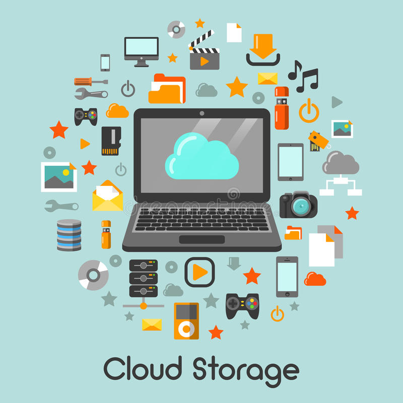 Wolken-Speicher-Daten-Technologie-Ikonen stock abbildung