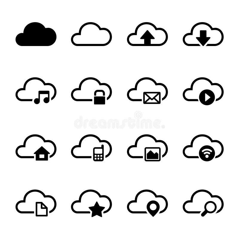 Wolken-Speicher-Ikonen eingestellt vektor abbildung