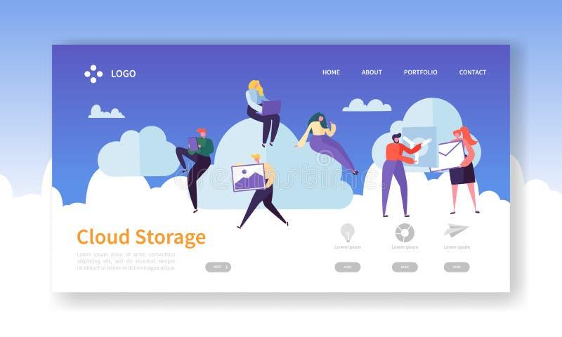 Wolken-Storage Technology Landungs-Seiten-Schablone Rechenzentrum-Hosting-Website-Plan mit flachen Leute-Charakteren stock abbildung