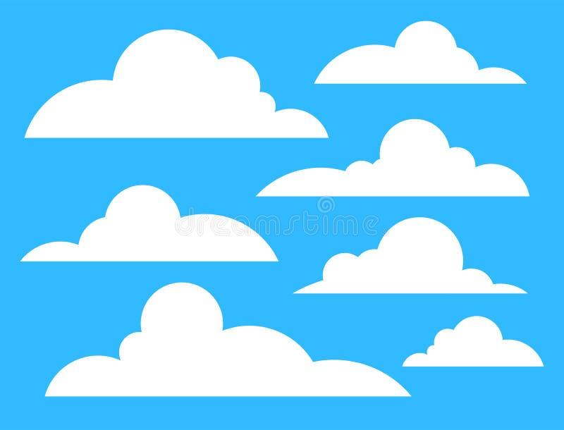 Wolken Symbol weiße Farbe isoliert auf blauem Azurblau Hintergrund stock abbildung