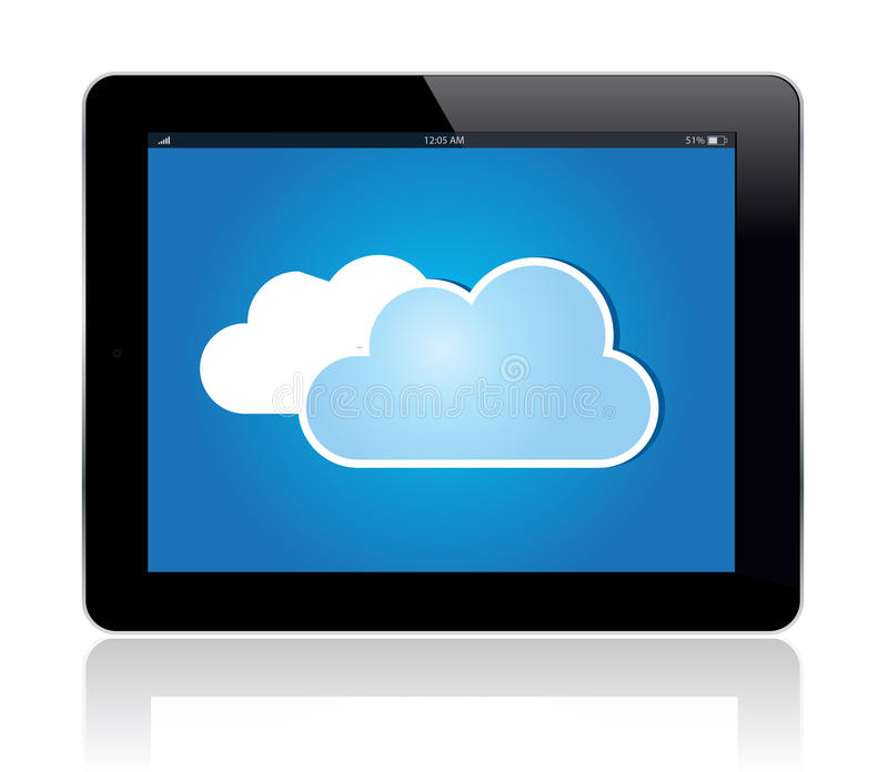 Wolken-Tablette-Blau lizenzfreie abbildung