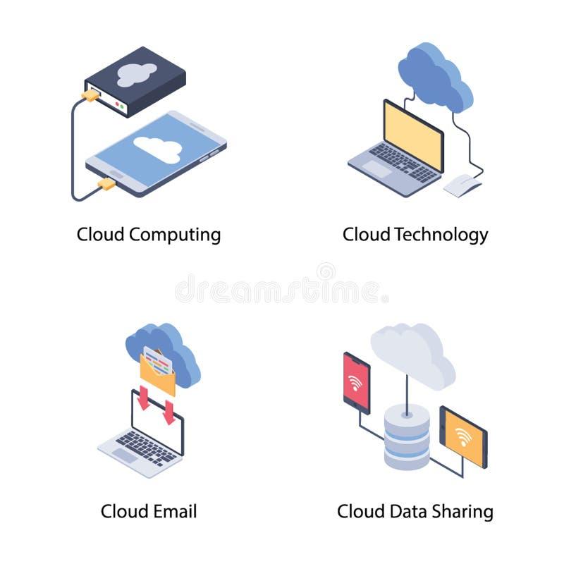 Wolken-Technologie-Ikonen rollen zusammen stock abbildung