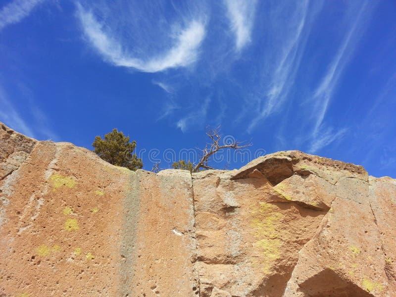 Wolken Tsankawe New Mexico royalty-vrije stock foto's