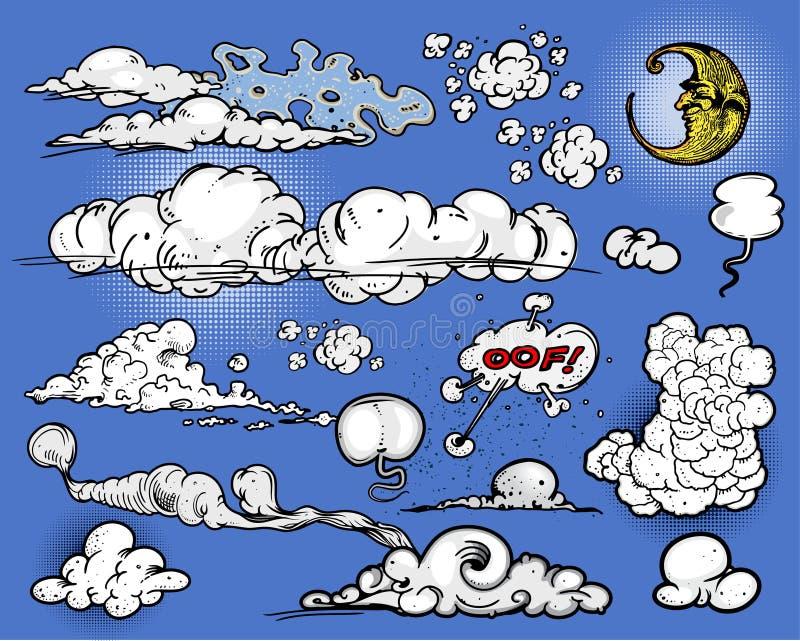 Wolken u. Mond stock abbildung