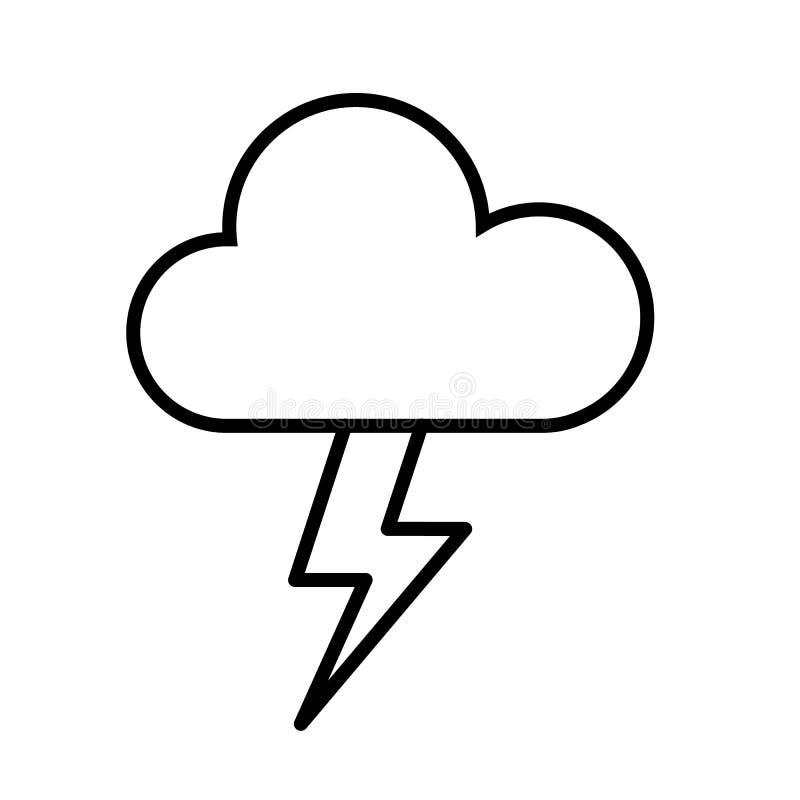 Wolken-und Blitz-Ikonen-Vektor stock abbildung
