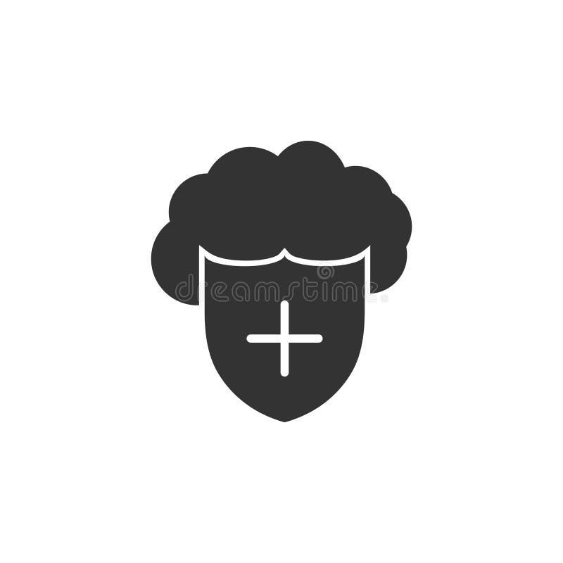 Wolken- und Schildikone Element der Internet-Sicherheitsikone für mobile Konzept und Netz Apps Ausführliche Wolken- und Schildiko lizenzfreie abbildung