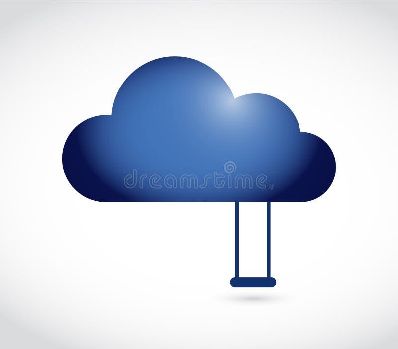 Wolken- und Schwingenillustrationsdesign lizenzfreie abbildung