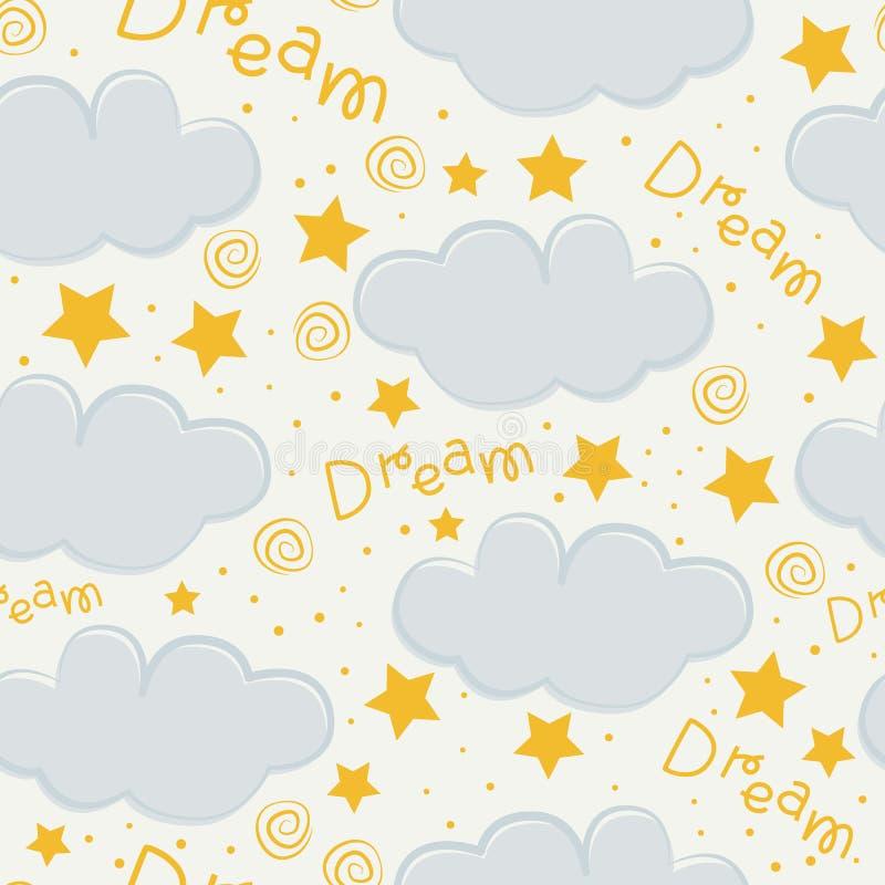 Wolken- und Sternkindernahtloser Musterentwurf lizenzfreie abbildung