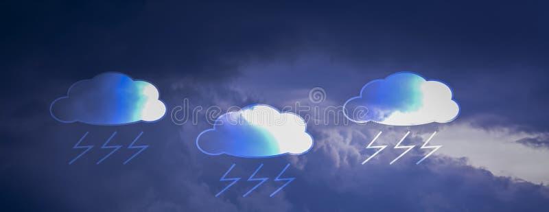 Wolken van de banner zijn de horizontale rechthoek zwart in hemel, terwijl de regen, met de symbolen van de pictogrammen rainand  stock illustratie