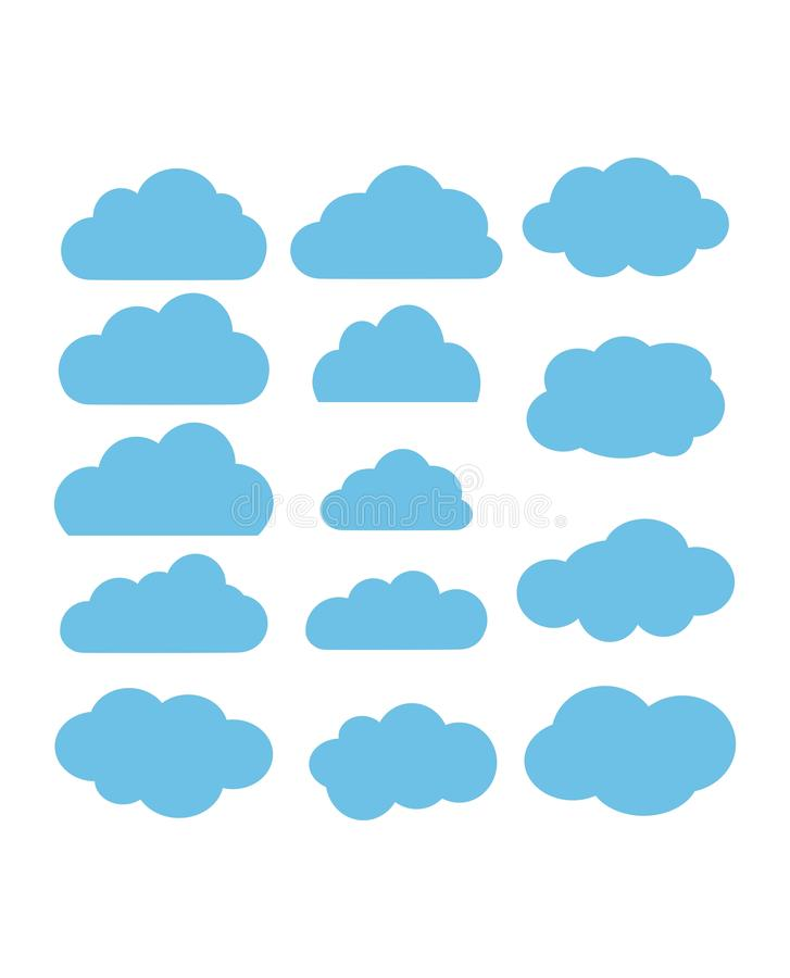 Wolken vectorinzameling Wolk gegevensverwerkingspak stock illustratie