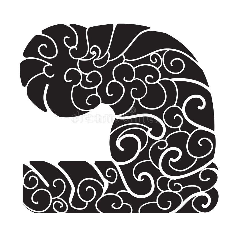 Wolkenachtergrond voor tatoegering Het Japanse ontwerp van de golftatoegering Chinese wolk voor wapen stock illustratie
