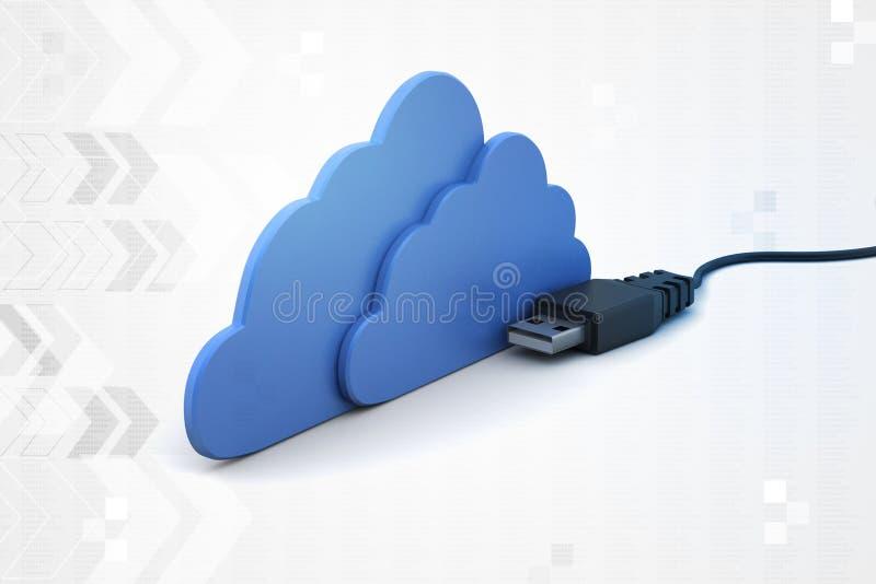 Wolkenconcept met codedraad vector illustratie